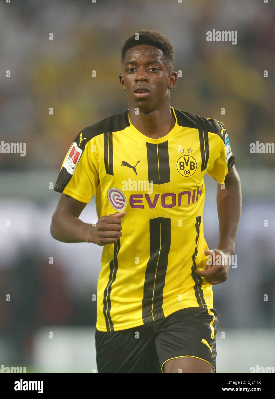 Dortmund, Germany. 14th Aug, 2016. Dortmun's Ousmane Dembele in action during the DFL Supercup soccer match - Stock Image