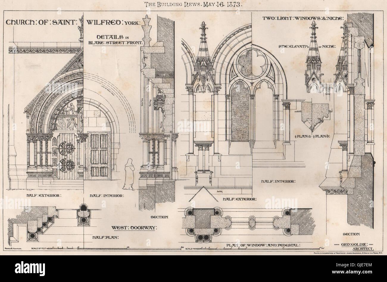 Church of Saint Wilfrid, York; Blake Street Front; Geo. Goldie, Architect, 1873 - Stock Image