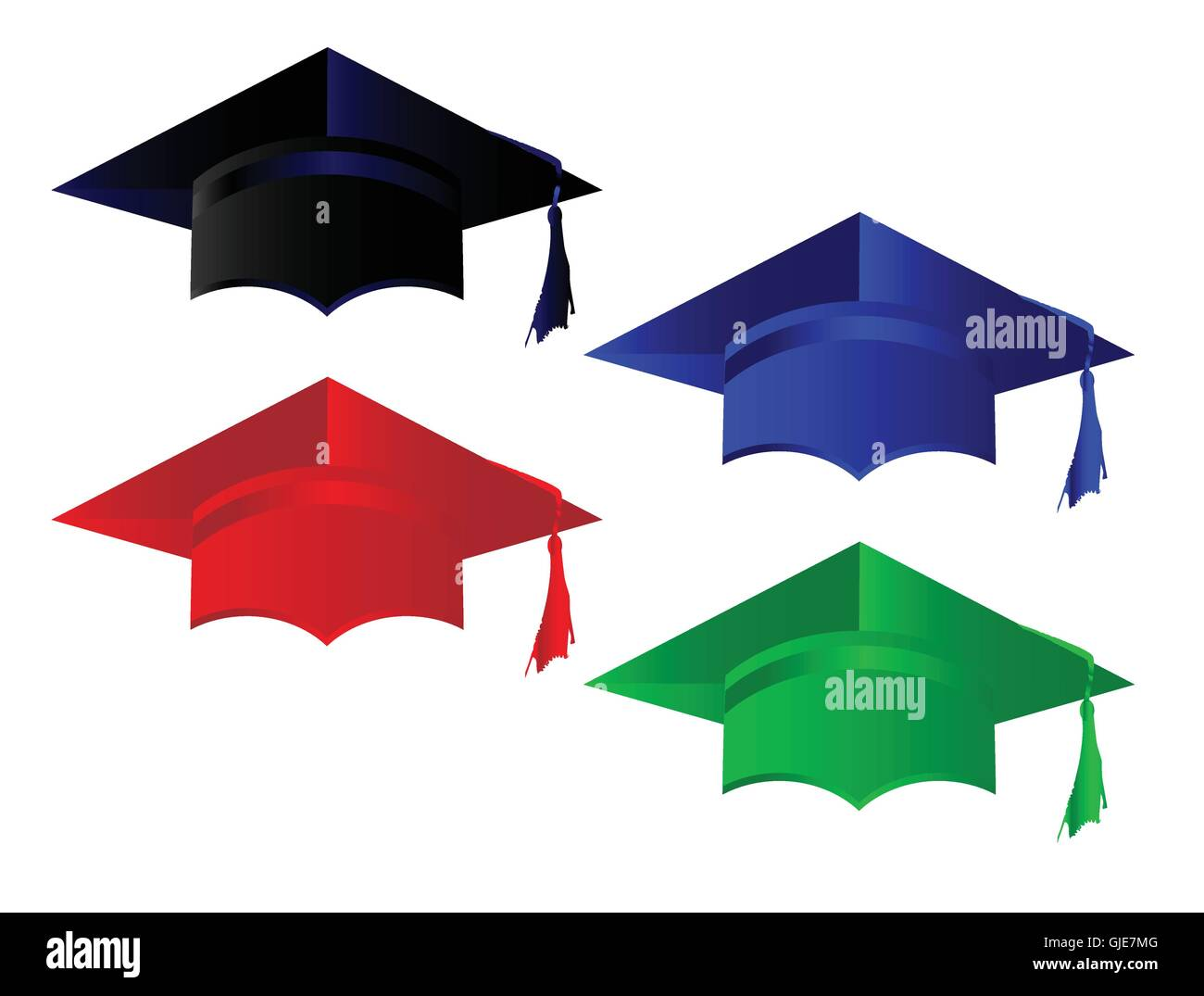 The caps from various levels of academia - Stock Image