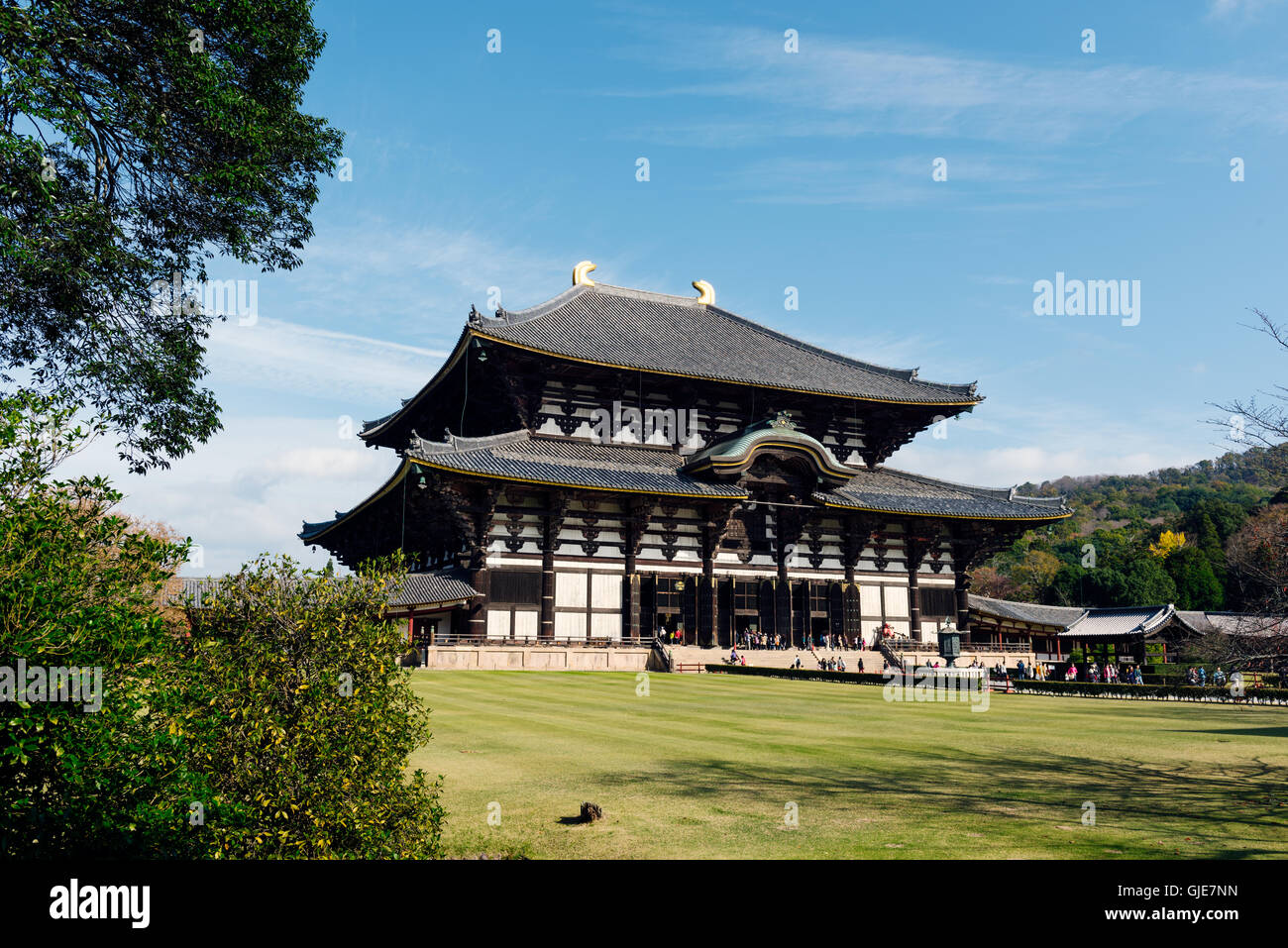 Nara, Japan - November 21 2016: Tōdai-ji is a Buddhist temple complex, that was once one of the powerful Seven Great - Stock Image