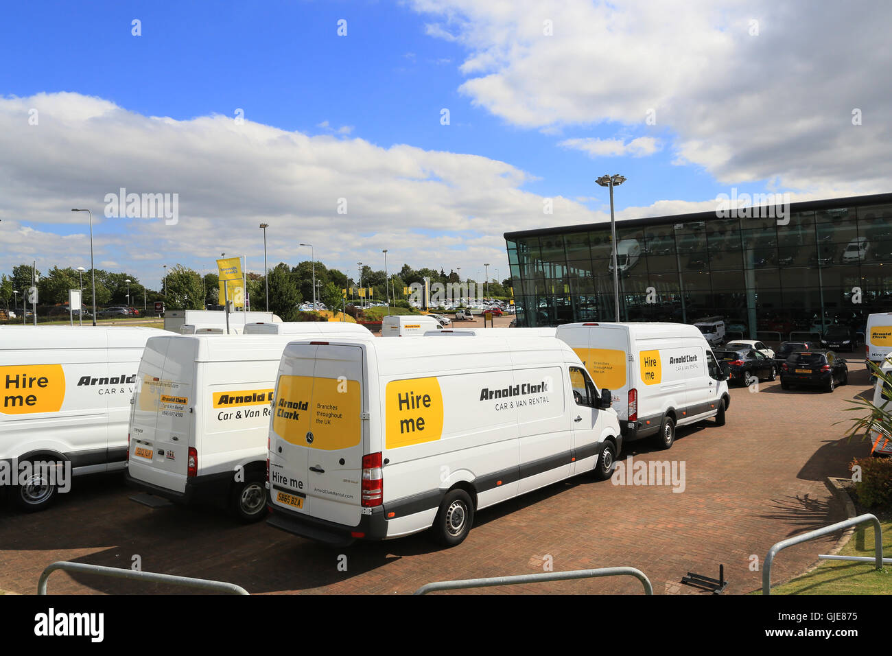 Arnold Clarke vans for hire at their Stafford site - Stock Image