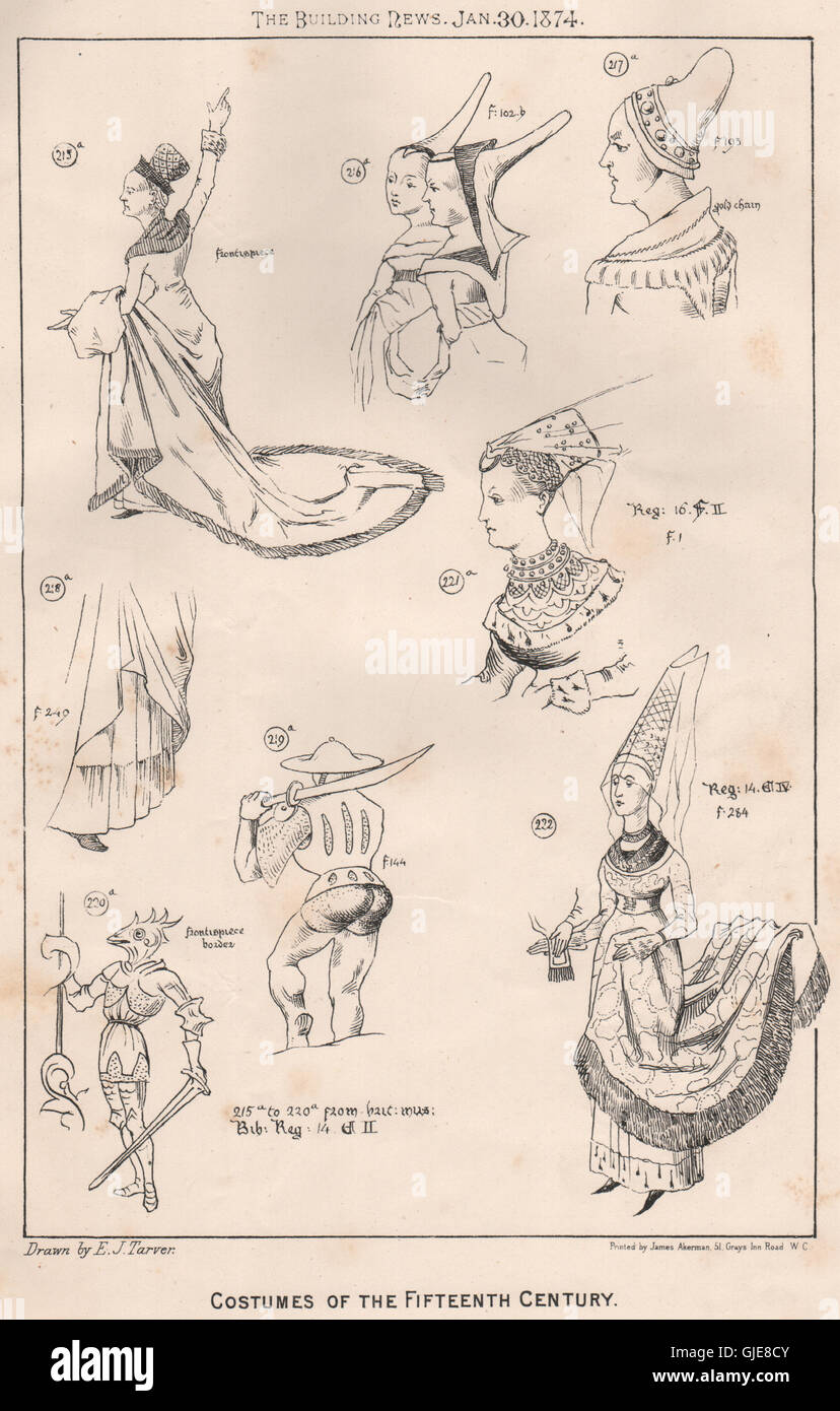 Costumes of the fifteenth century, antique print 1874 - Stock Image