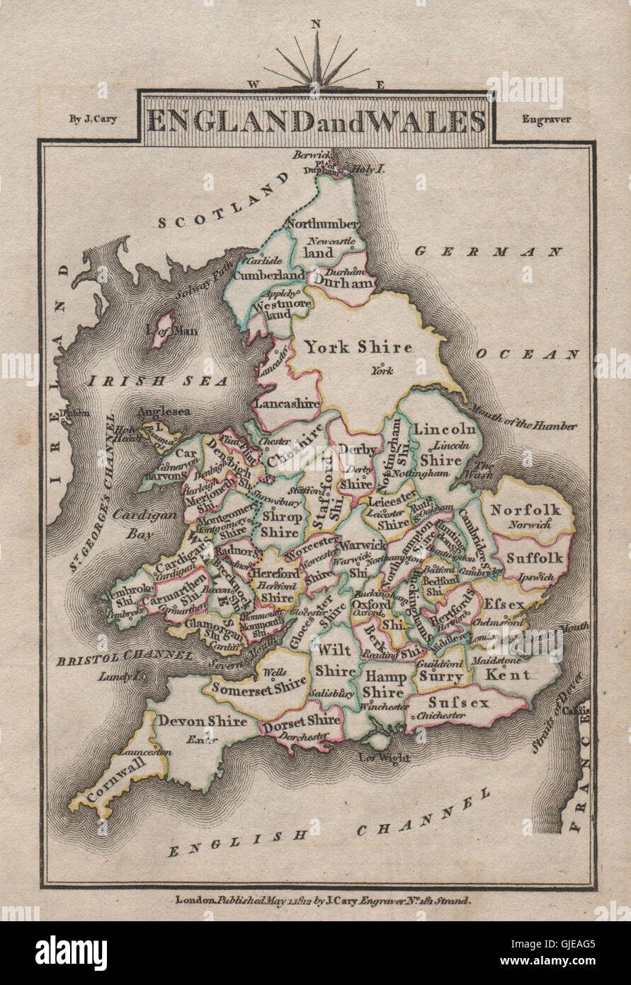 Map Of England To Colour.England And Wales By John Cary Miniature Antique Map Original