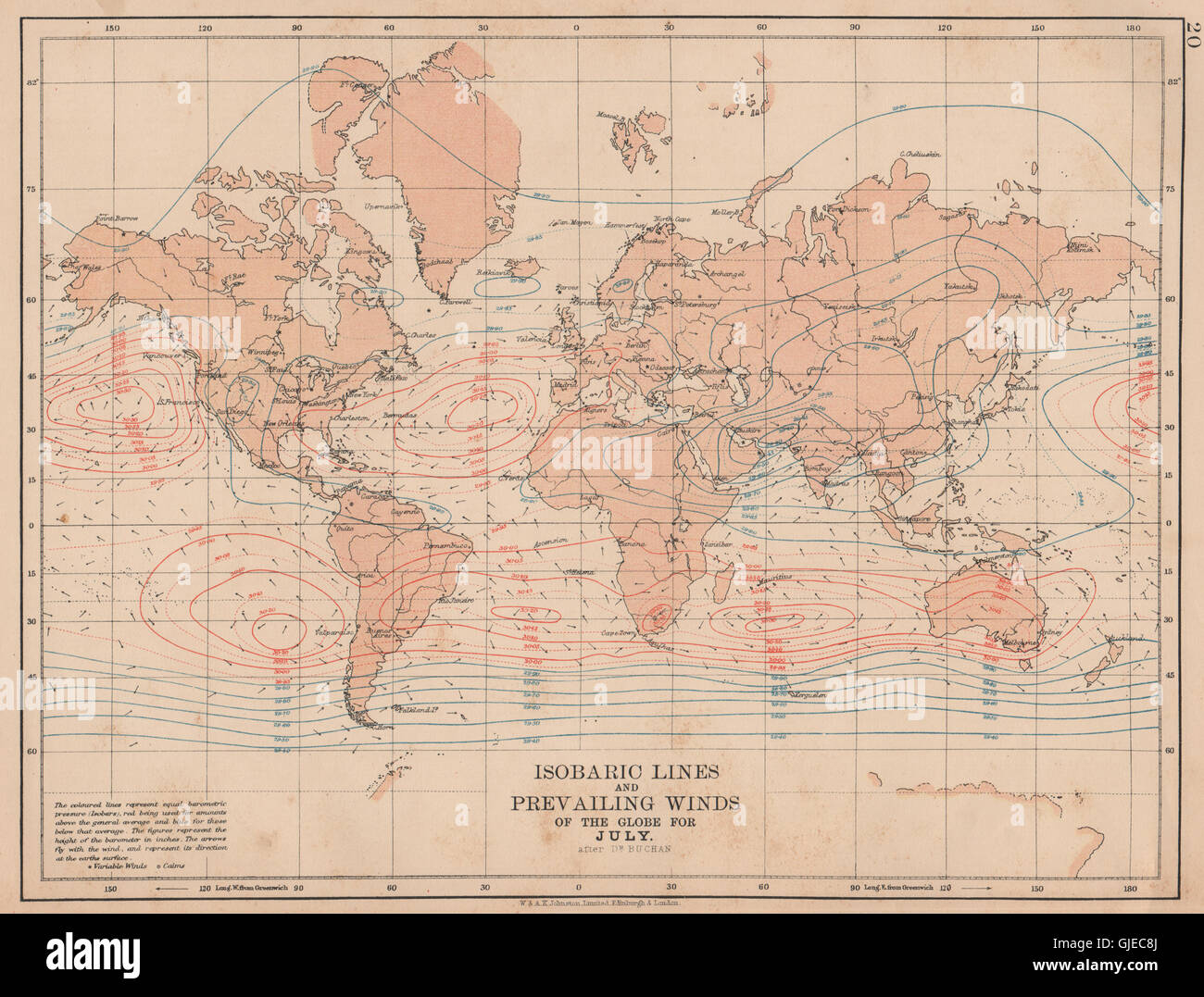 WORLD. Isobaric lines & Prevailing Winds of the Globe. July Stock ...