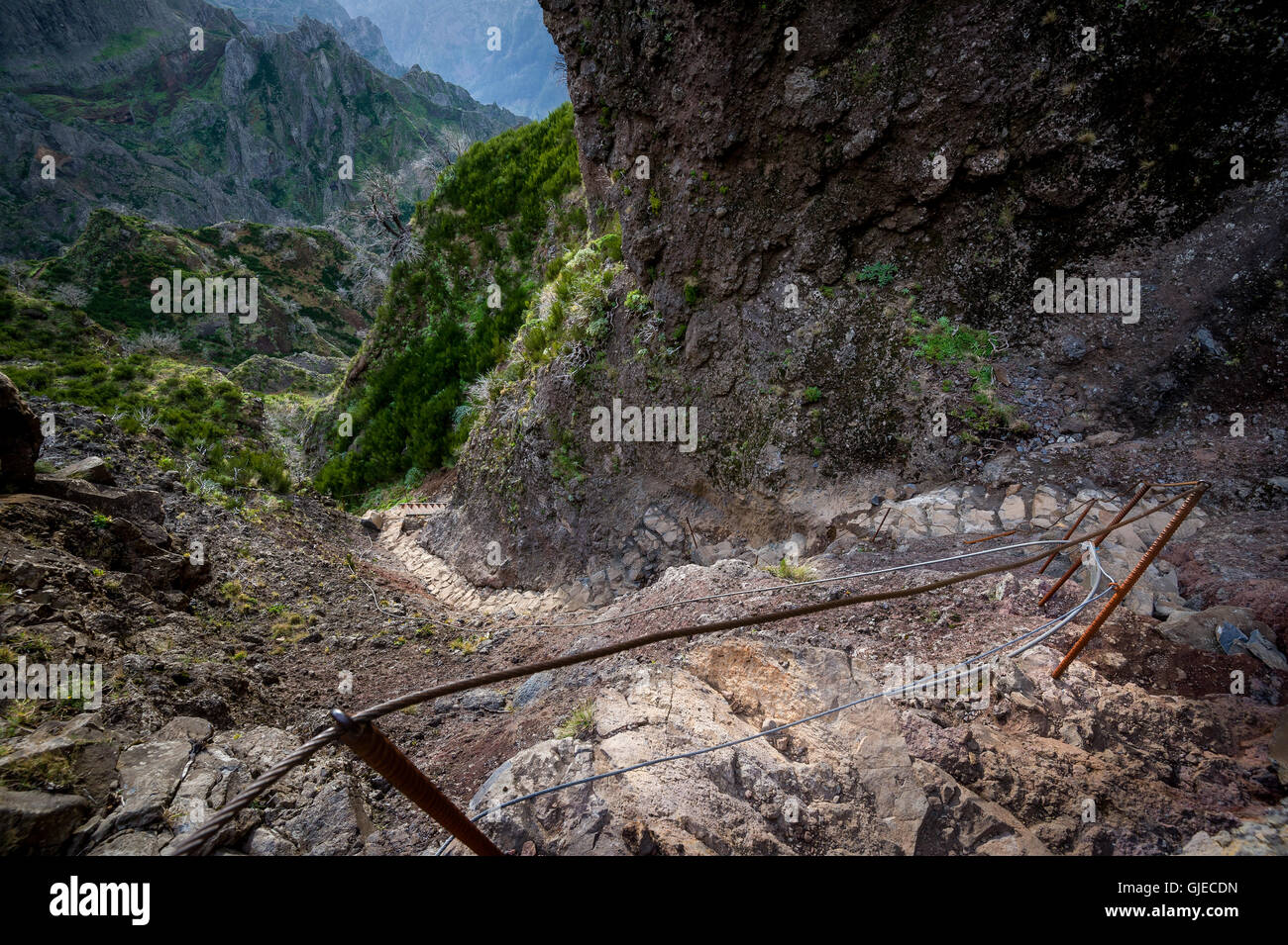 Steep stone stair in the rocky paths of Madeira island. - Stock Image