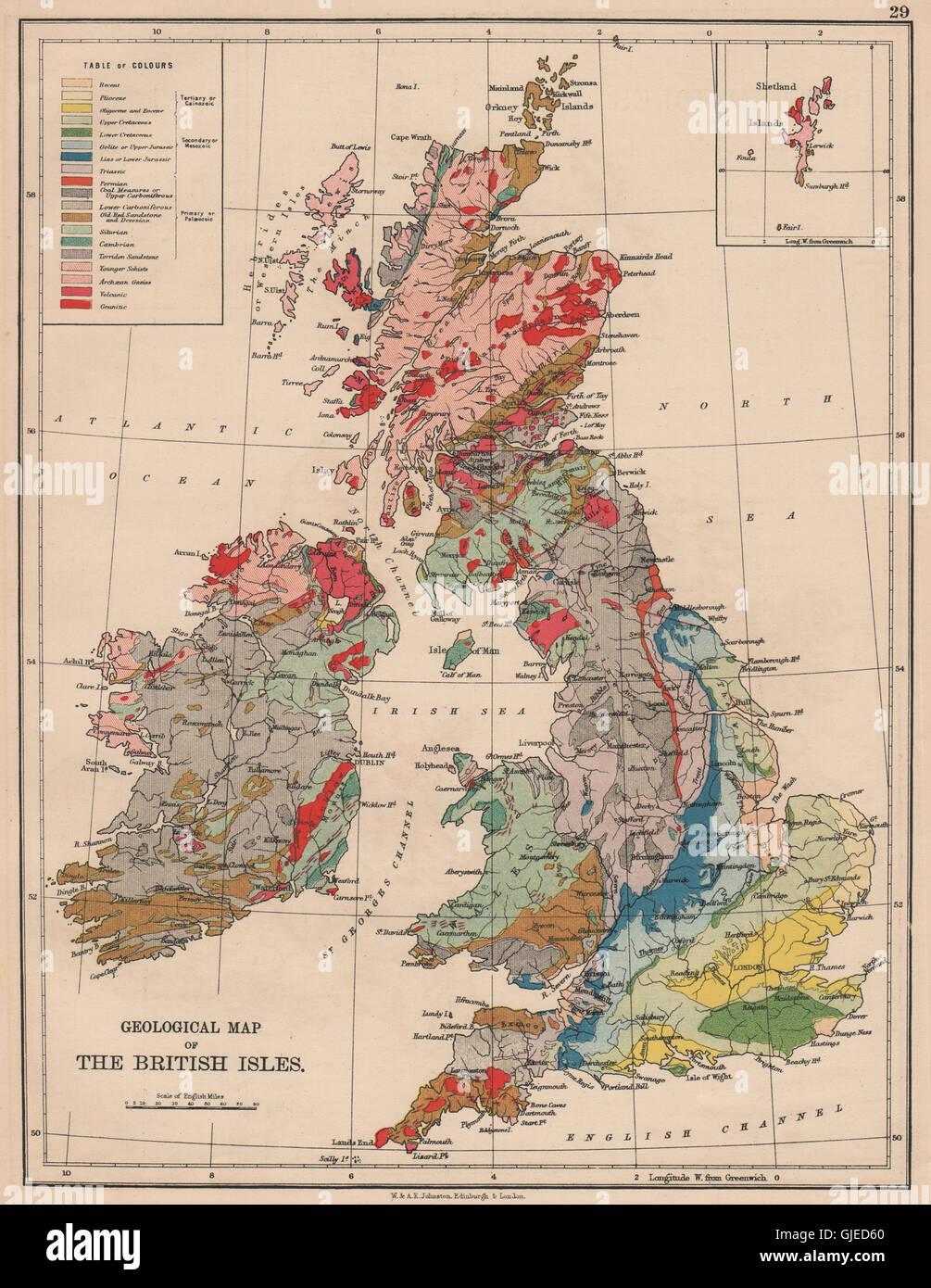 BRITISH ISLES GEOLOGICAL. Pliocene Cretaceous Jurassic Triassic &c, 1906 map - Stock Image
