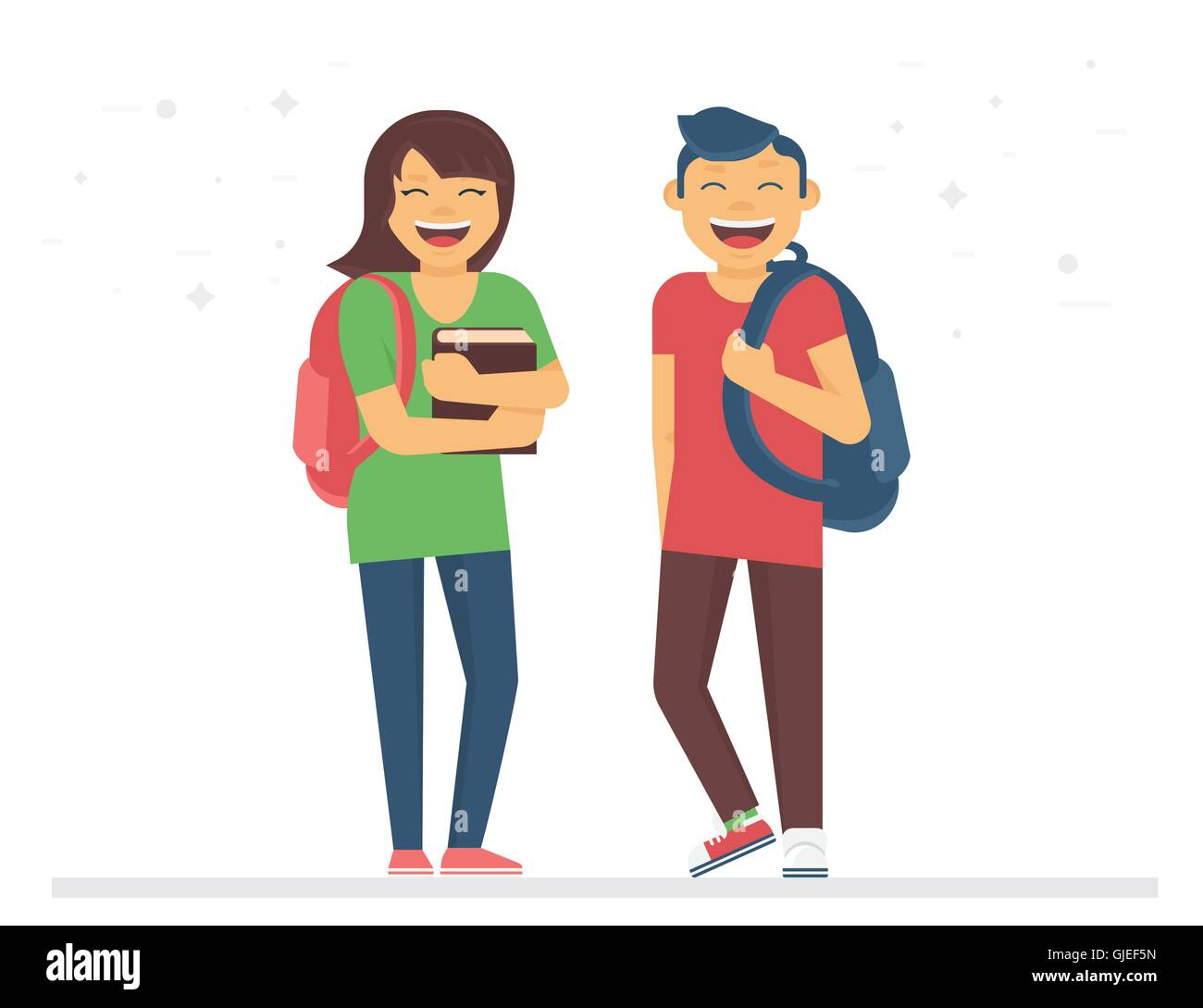 Young students or schoolmates with school bags and books are smiling - Stock Vector