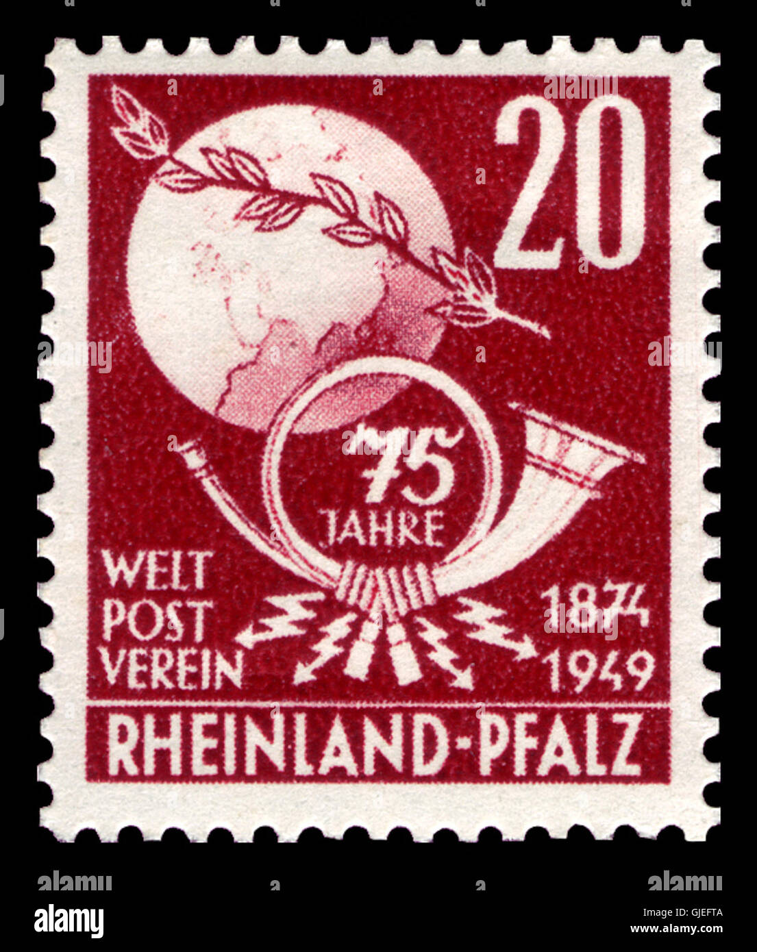Fr. Zone Rheinland-Pfalz 1949 51 Weltpostverein Stock Photo