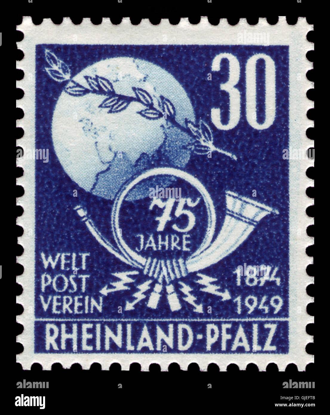 Fr. Zone Rheinland-Pfalz 1949 52 Weltpostverein Stock Photo