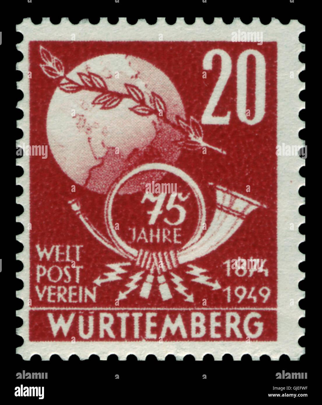 Fr. Zone Württemberg 1949 51 Weltpostverein Stock Photo