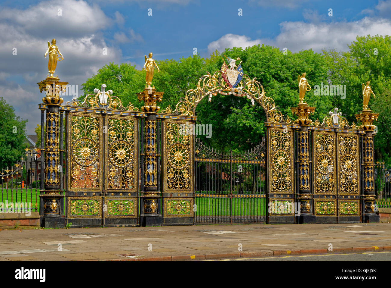 Ornate Town Hall gates at Warrington town centre, Cheshire. - Stock Image