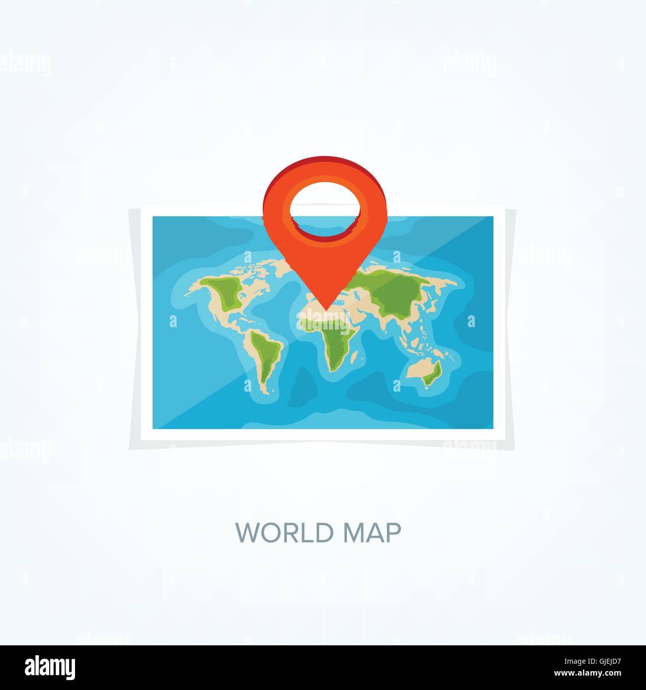 World map in a flat style earth globe navigation route and stock world map in a flat style earth globe navigation route and destination icon gumiabroncs Gallery
