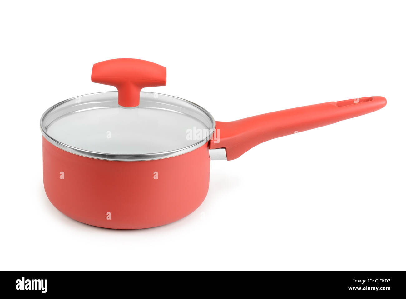 Red saucepan isolated on white background - Stock Image
