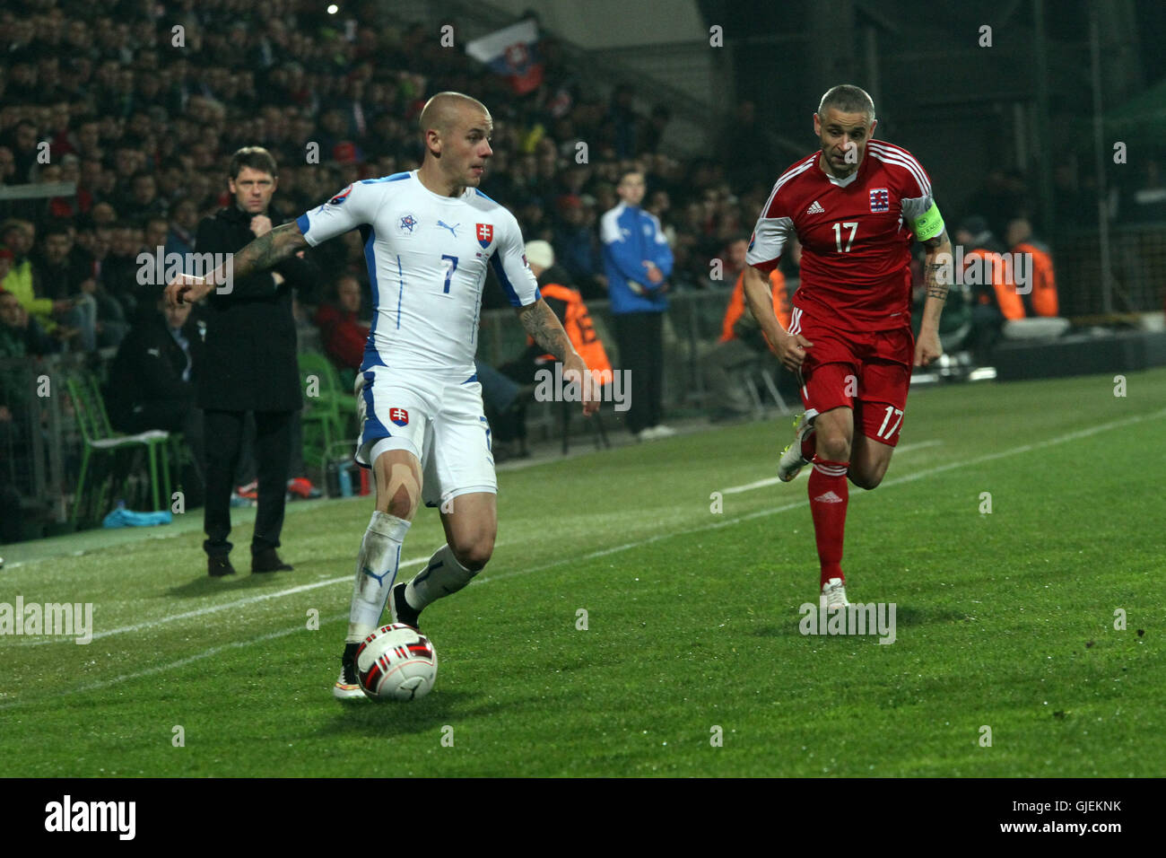 Vladimir Weiss (7) and Mario Mutsch (17) during the EURO 2016 qualifier Slovakia vs Luxembourg 3-0. - Stock Image