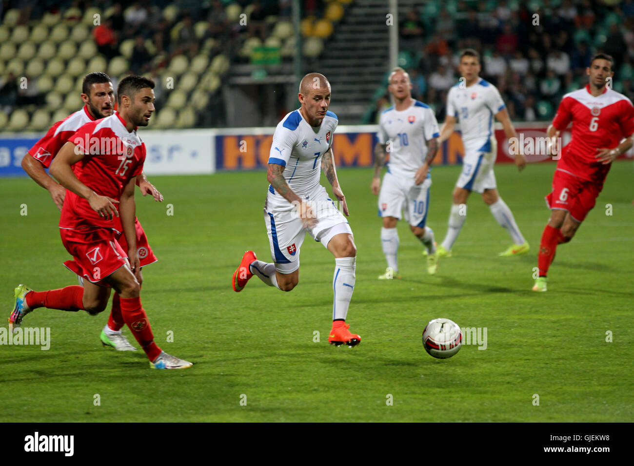 Slovakia's Vladimir Weiss (in the centre) with the ball during the friendly football match Slovakia vs Malta 1-0. - Stock Image