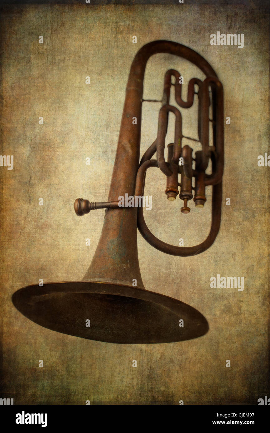 Old Worn Horn - Stock Image