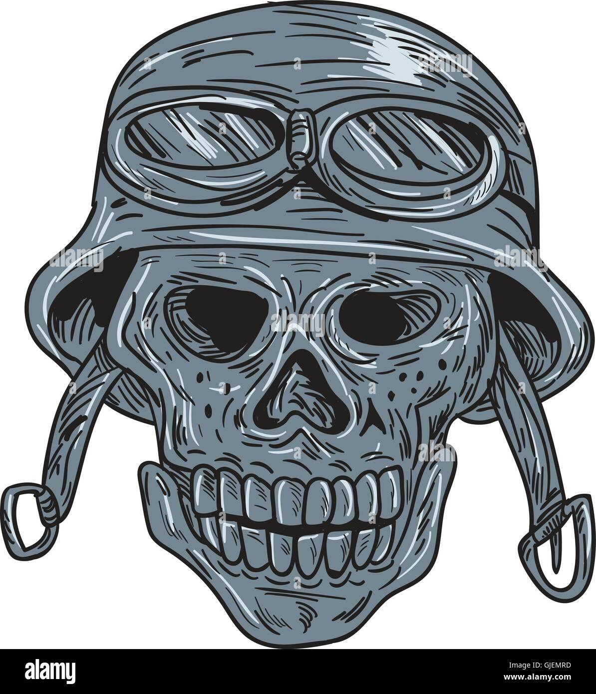 Drawing Sketch Style Illustration Of A Skull Biker Wearing Bike