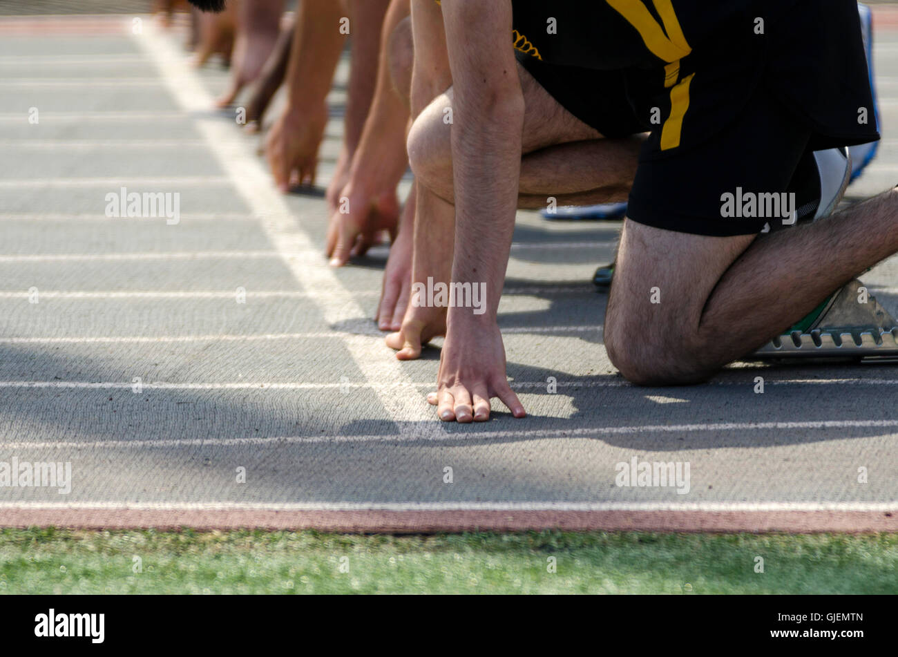 Runners getting ready to start race - Stock Image