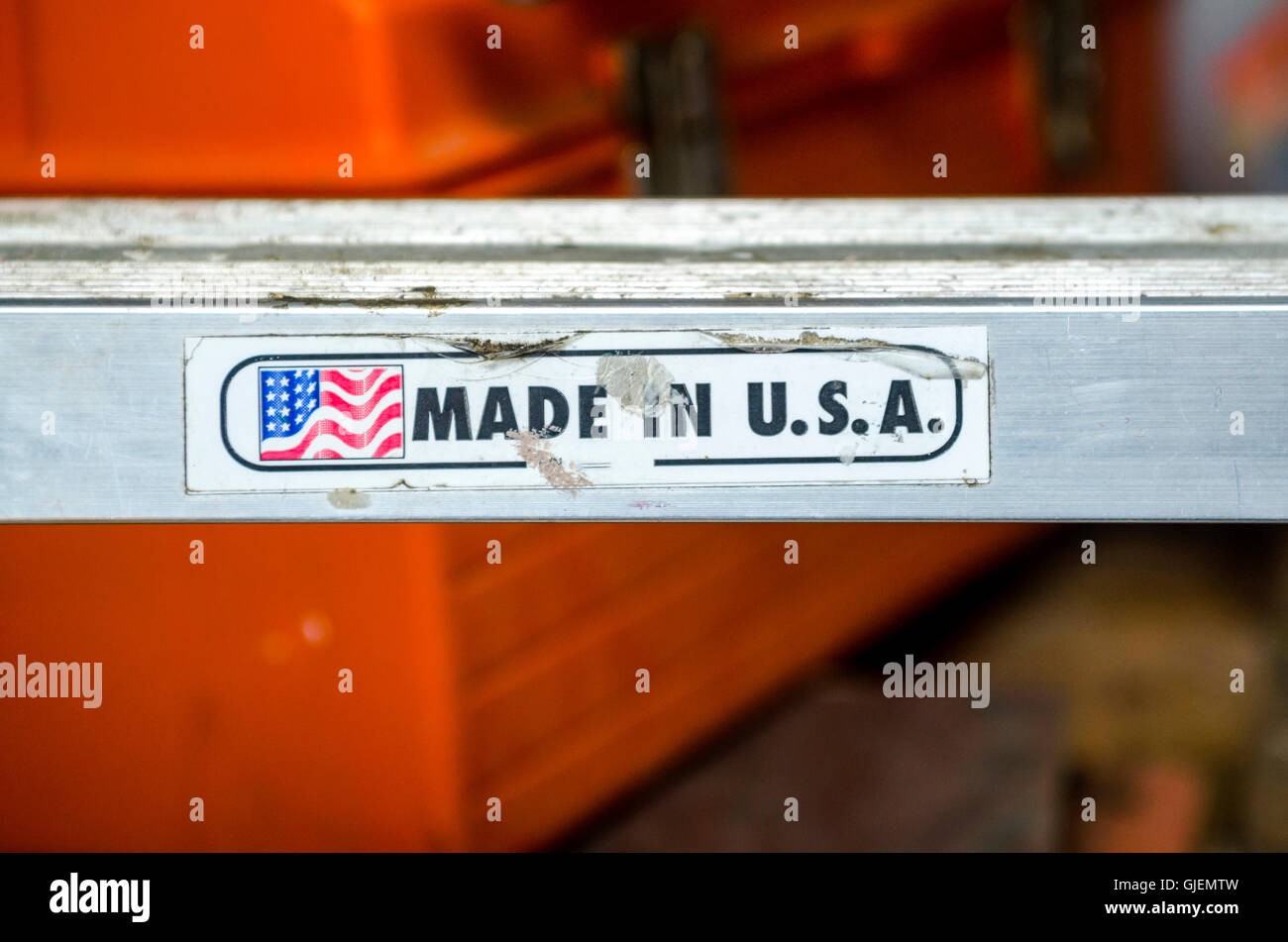 Made in U.S.A. on ladder rung - Stock Image