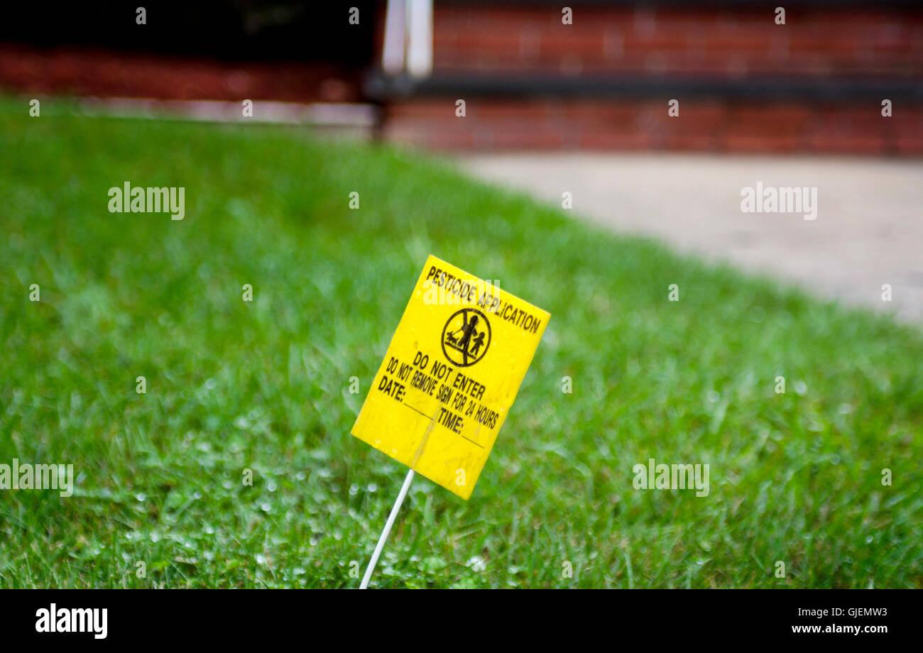 Pesticide application warning - Stock Image