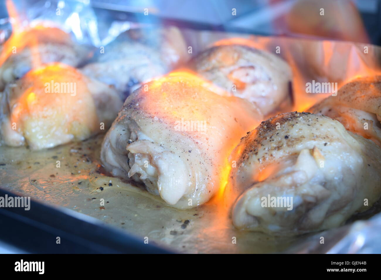 Raw Pieces of Chicken in Preparation - Stock Image