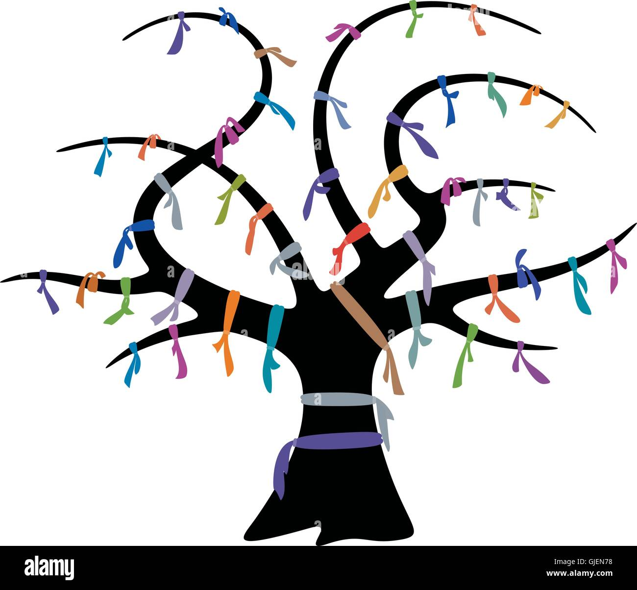 Wish tree and colorful ribbons for design Stock Vector
