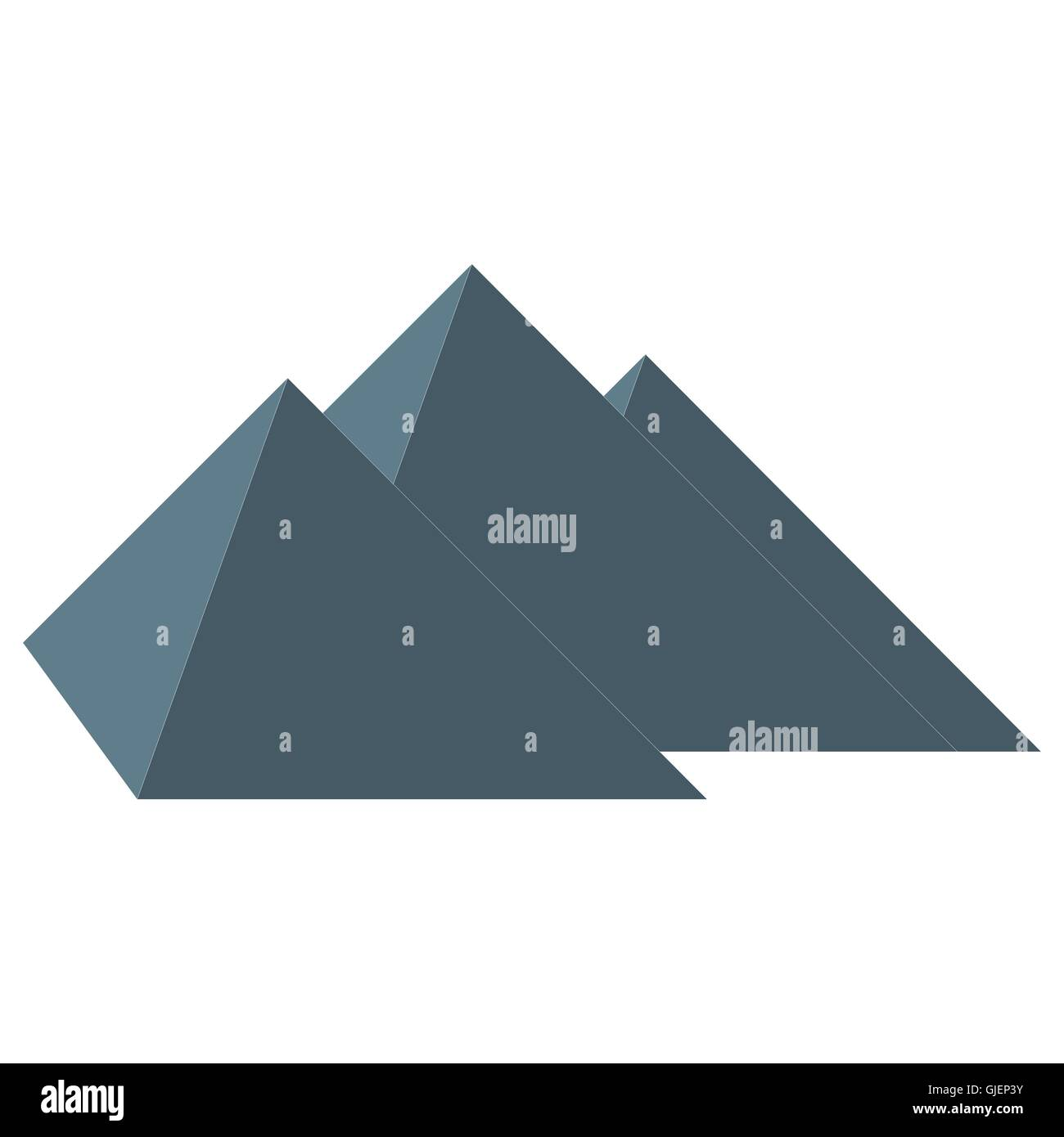 Stylized icon three pyramids of Egypt on white background - Stock Vector
