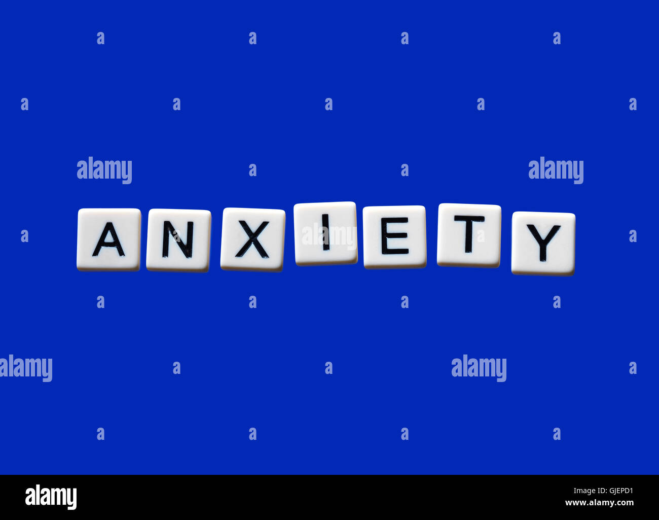 Anxiety highlighted on white blocks - Stock Image