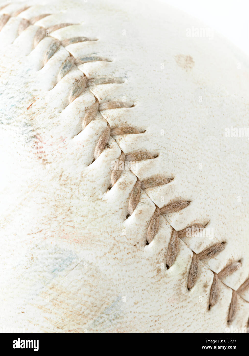 Macro shot of Leather baseball with stitching Stock Photo