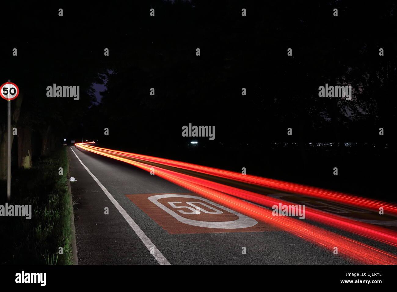 Fast Car Light Trail - Stock Image