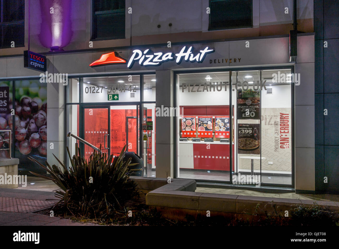 Pizza Hut Delivery at Night Canterbury Kent England Stock Photo