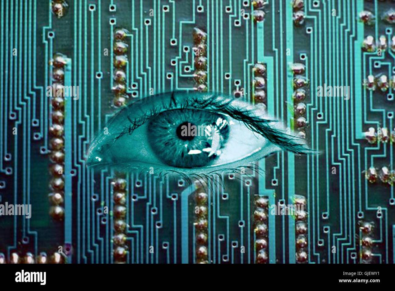 virus monitor Stock Photo