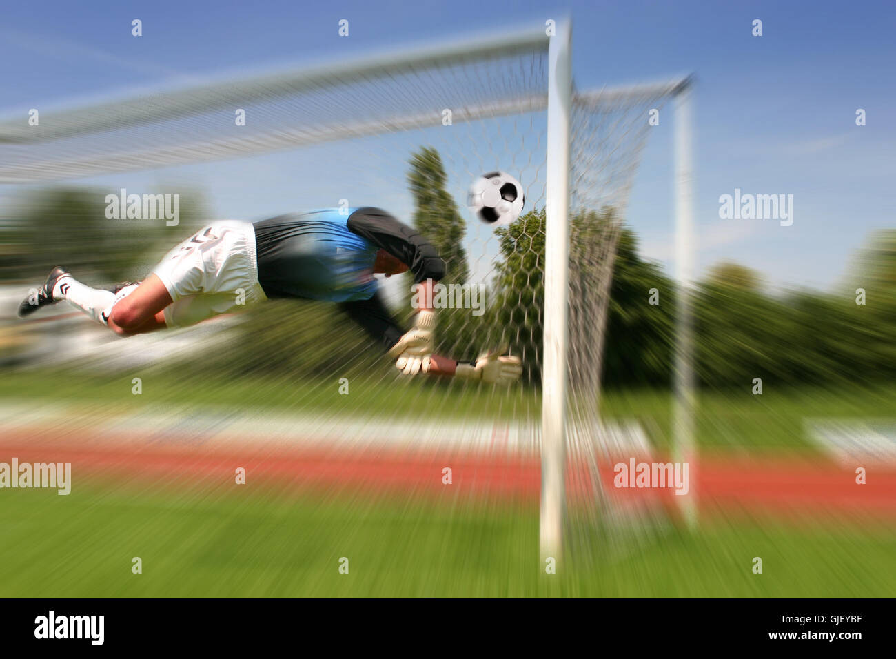 ball flight goal - Stock Image