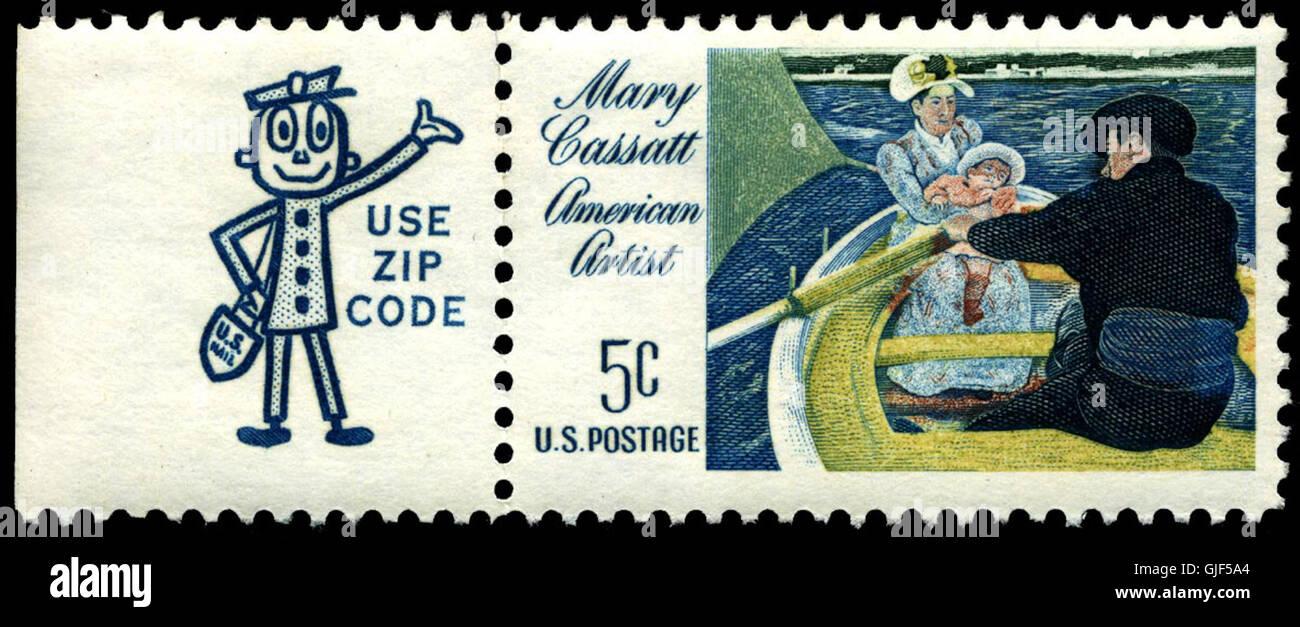 Stamp US 1966 5c Cassatt with Zippy Stock Photo