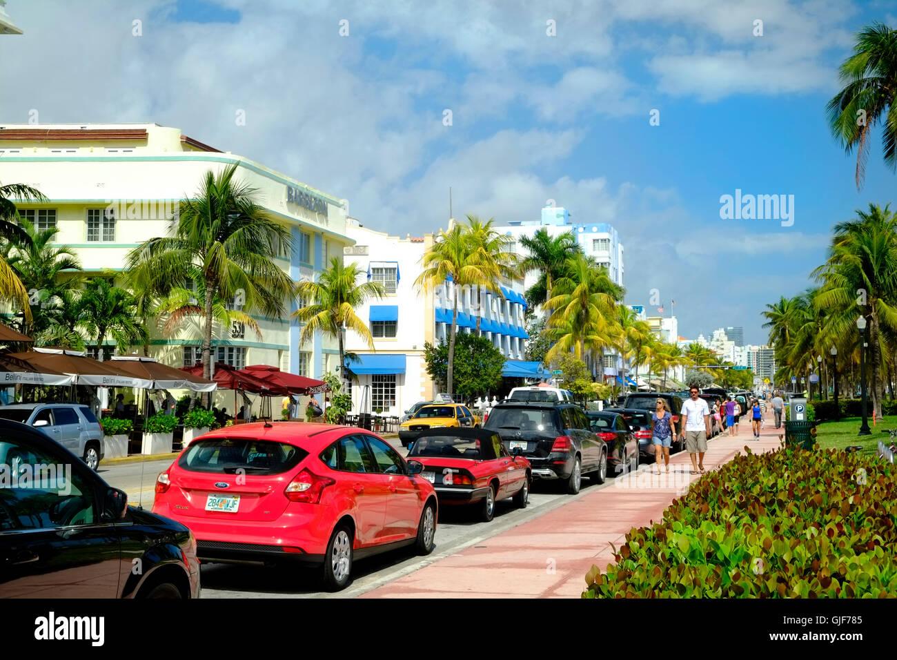 Ocean Drive, Miami, Florida, USA - Stock Image