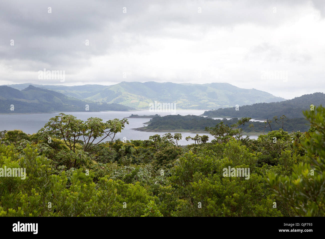 The rainforest landscape around Arenal Lake, Arenal, Costa Rica, Central America - Stock Image
