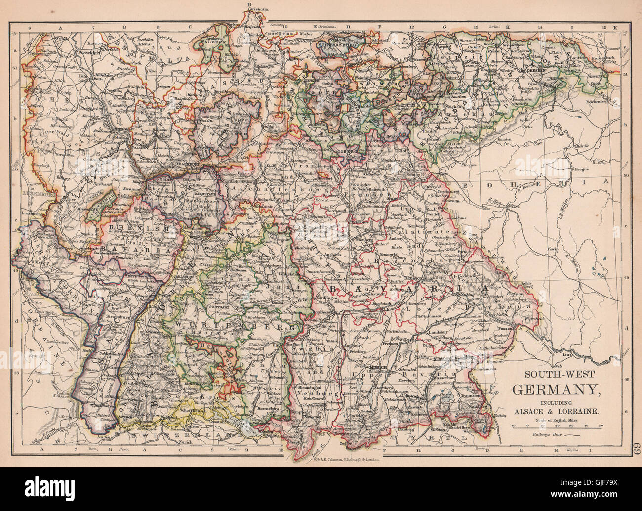 Map Of South Germany.Germany South Bavaria Bayen Baden Wurttemberg Includes Alsace Stock