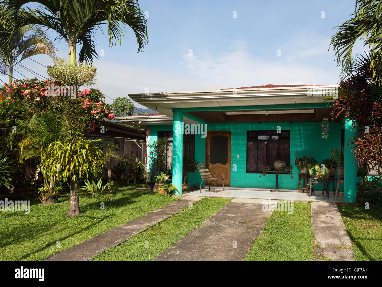 Typical costa rican house, La Fortuna, Costa Rica, Central America - Stock Image