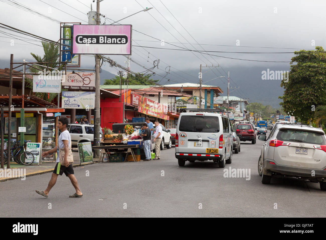 Street scene, the town of La Fortuna, Arenal, Costa Rica, Central America - Stock Image