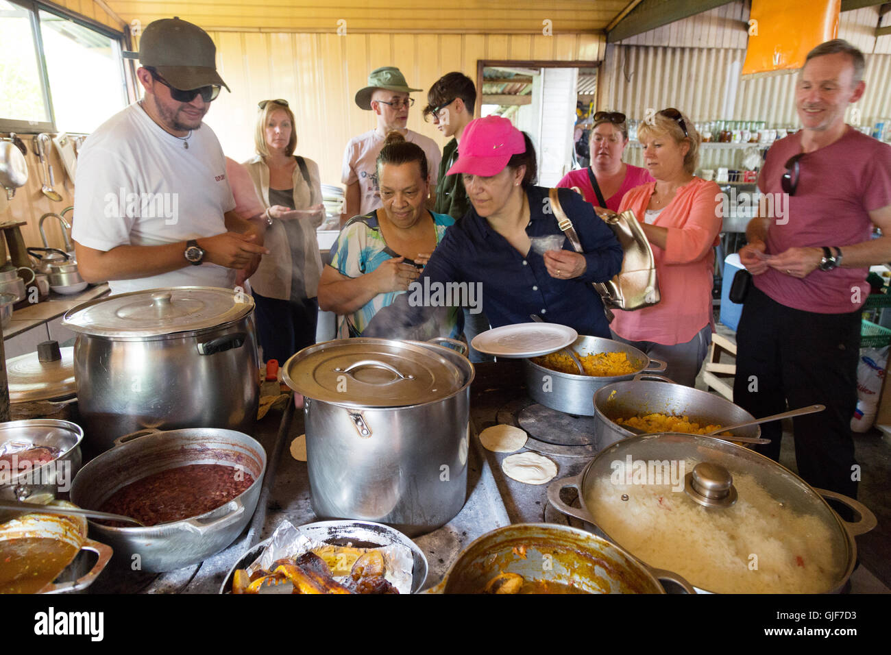 Tourists learning about local Costa Rican cooking and culture, Poas, Costa Rica, Central America - Stock Image