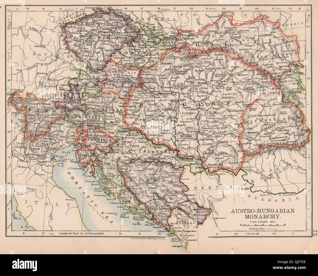 AUSTRO-HUNGARIAN MONARCHY. Dalmatia Slavonia Siebenburgen &c. JOHNSTON, 1906 map - Stock Image