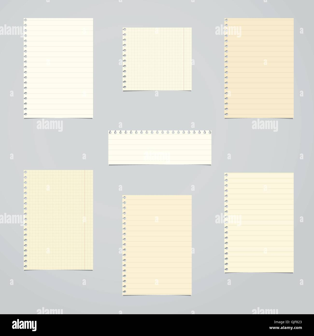 brown ruled and math blank notebook paper sheets stock vector art