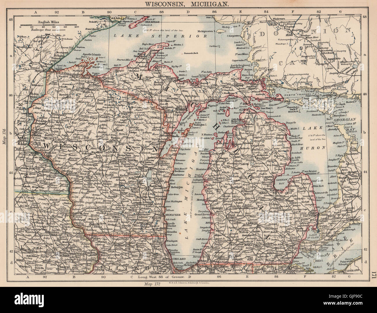 USA MIDWEST Wisconsin Michigan Great Lakes Superior Huron Stock - Map of wisconsin and michigan