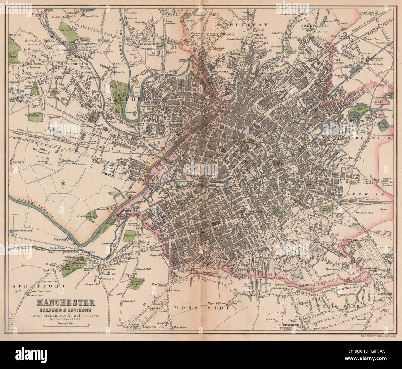 EDINBURGH  antique town//city plan BARTHOLOMEW 1904 old map chart