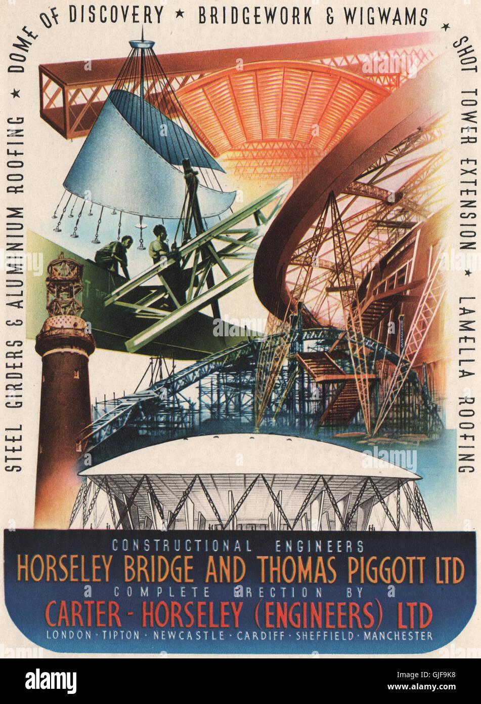 FESTIVAL OF BRITAIN. Horseley Bridge. Thomas Piggott. Engineers, print 1951 - Stock Image
