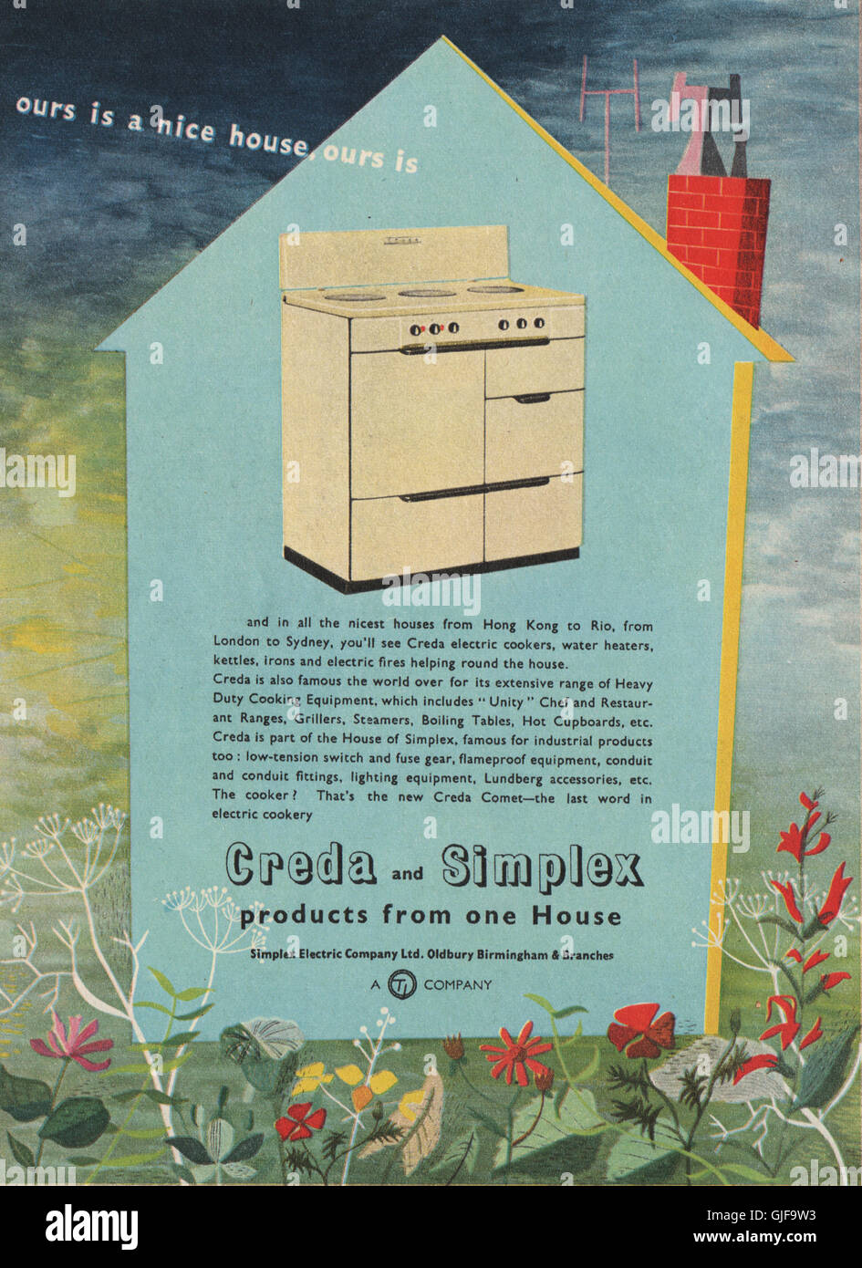 DOMESTIC APPLIANCE ADVERT. Simplex Electric Co. Ltd, vintage print 1951 - Stock Image