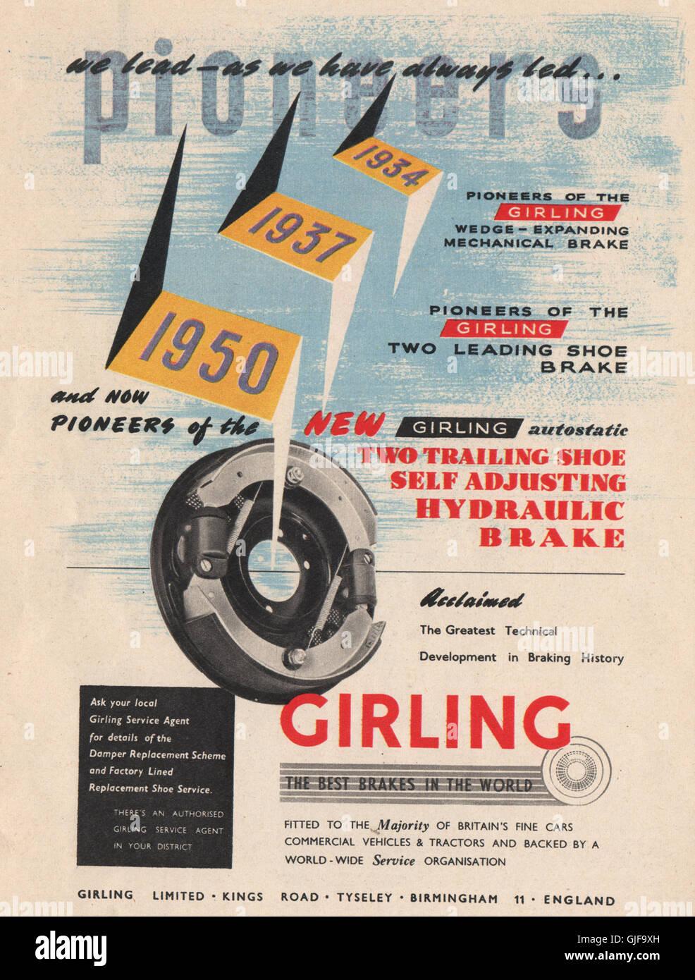 ENGINEERING ADVERT  Girling, Ltd Brakes  , vintage print 1951 Stock