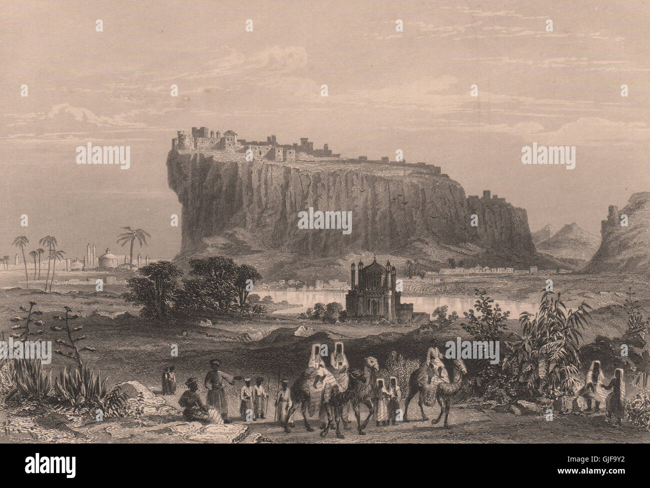 BRITISH INDIA The Fortress of Daulatabad in the Deccan 1858 old antique print