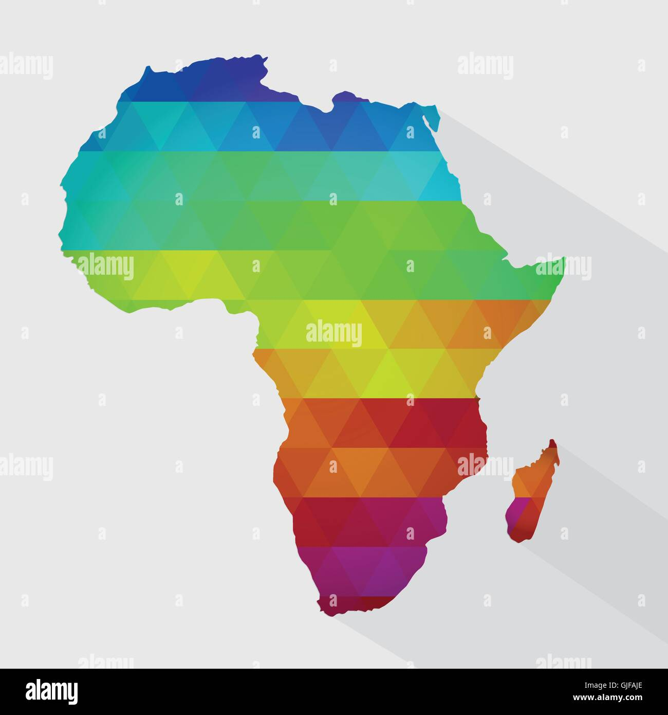 Map of africa with colored geometric shapes triangles forming the map of africa with colored geometric shapes triangles forming the colors of the rainbow with long shadow gumiabroncs Image collections