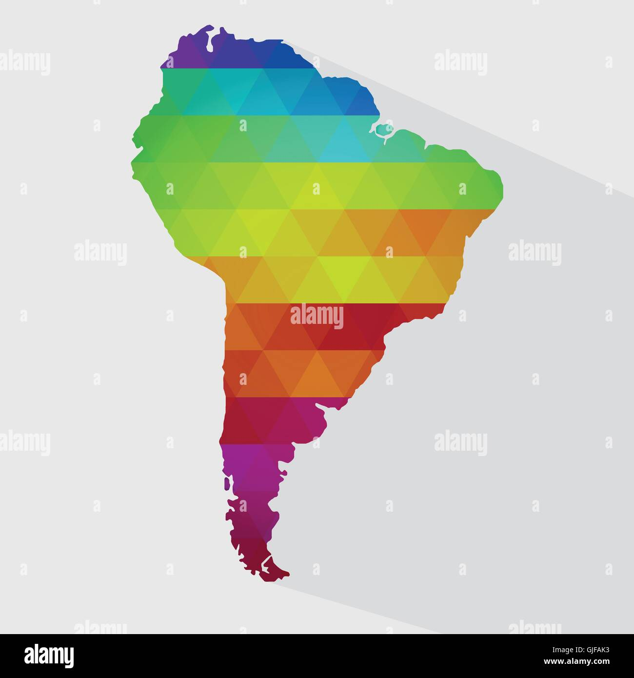 map of south america with colored geometric shapes triangles forming the colors of the
